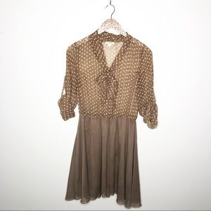 Timing Brown Polka Dot Dress with Bow Neck